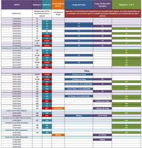 calendrier senior 2020