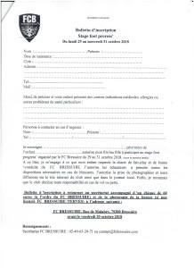 bulletin d'inscription de foot progress